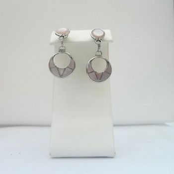 Dangley Zuni Circular Cut out Earrings with Pink Shell